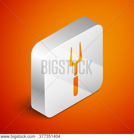 Isometric Barbecue Fork Icon Isolated On Orange Background. Bbq Fork Sign. Barbecue And Grill Tool.
