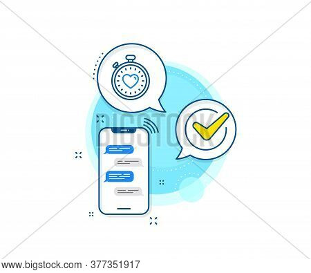 Love Symbol. Phone Messages Complex Icon. Heart In Timer Line Icon. Valentines Day Stopwatch Sign. M