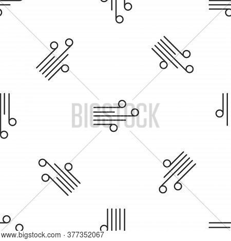 Grey Line Wind Icon Isolated Seamless Pattern On White Background. Windy Weather. Vector Illustratio