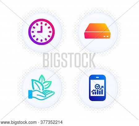 Organic Product, Mini Pc And Clock Icons Simple Set. Button With Halftone Dots. Smartphone Statistic