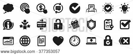 Statistics, Speech Bubble And Light Bulb Signs. Report, Time And Globe Icons. Credit Card, Download