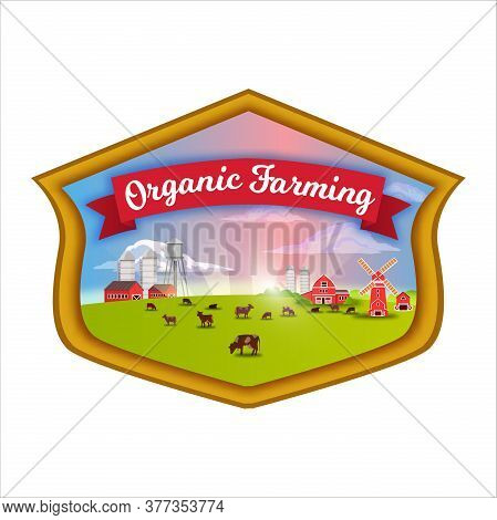Organic Farm Landscape With Green Fields, Cows, Sun Rays, Barn, Mill, Red Ribbon. Agriculture Farmin
