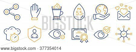 Set Of Business Icons, Such As Cooking Timer, Hand. Certificate, Save Planet. Check Eye, Myopia, Ph
