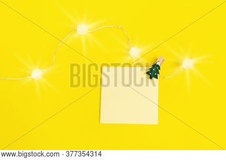 Blank Paper Notes For Christmas Wishes For Friend And Colleagues. Square Memo Reminder Yellow Colore