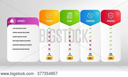 Approved, Loan Percent And Confirmed Line Icons Set. Pricing Table, Price List. Washing Machine Sign