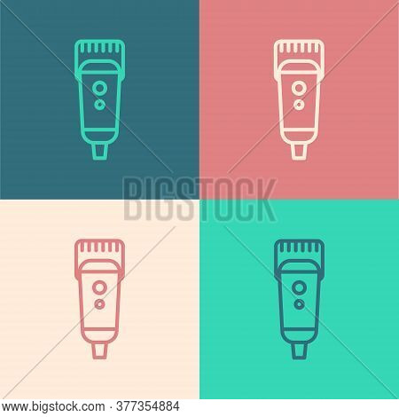 Pop Art Line Electrical Hair Clipper Or Shaver Icon Isolated On Color Background. Barbershop Symbol.