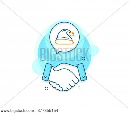 Christmas Or New Year Sign. Handshake Deal Complex Icon. Santa Hat Line Icon. Claus Symbol. Agreemen