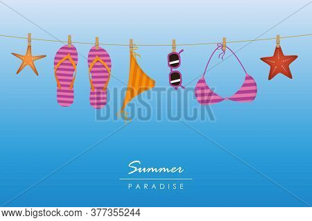 Summer Holiday Striped Flip Flops Bikini And Sunglasses Hang On A Rope Vector Illustration Eps10