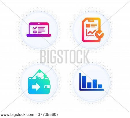 Web Lectures, Report Checklist And Wallet Icons Simple Set. Button With Halftone Dots. Histogram Sig