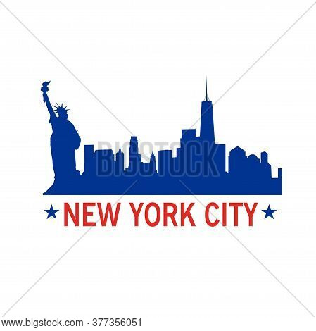 New York City Vector Illustration With City  Silhouette And Statue Of Liberty. T- Shirt Print