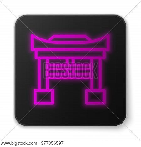 Glowing Neon Line Japan Gate Icon Isolated On White Background. Torii Gate Sign. Japanese Traditiona