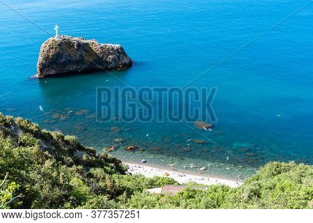 View From Above On The Coast Of Fiolent, In The Bay Can Be Seen A Rock In The Sea And Inflatable Rou