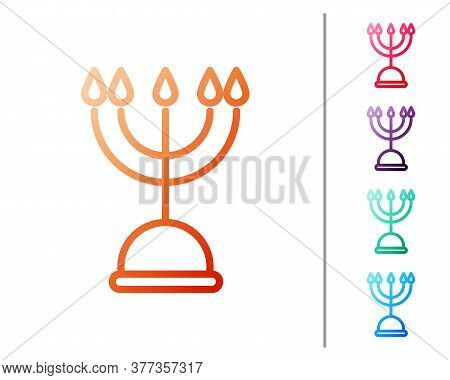 Red Line Hanukkah Menorah Icon Isolated On White Background. Hanukkah Traditional Symbol. Holiday Re