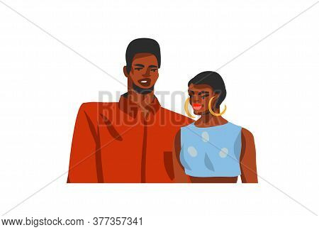 Hand Drawn Vector Abstract Stock Flat Graphic Illustration With Young Happy African American Beauty