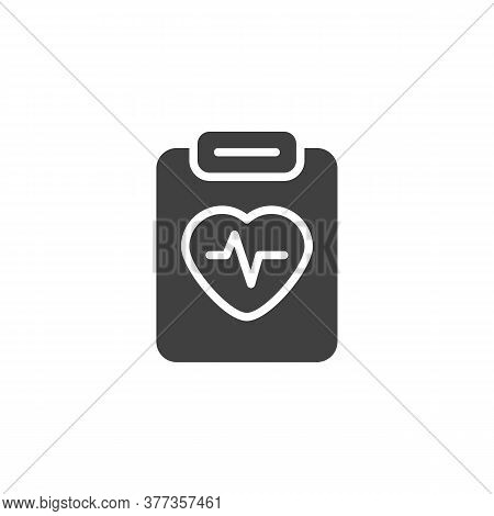 Heart Cardiogram Report Vector Icon. Filled Flat Sign For Mobile Concept And Web Design. Medical Rec