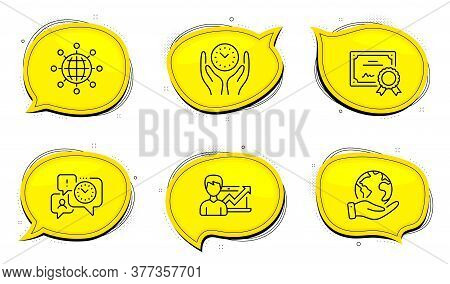 Time Management Sign. Diploma Certificate, Save Planet Chat Bubbles. Success Business, International