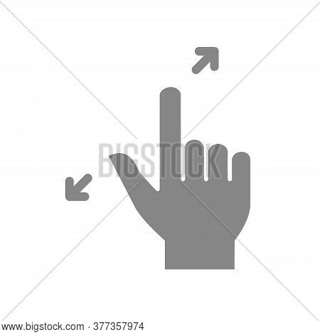 Zoom With Two Fingers Grey Icon. Touch Screen Hand Gesture Symbol