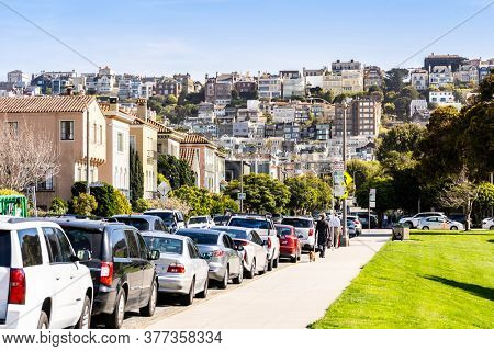 Beautiful cityscape of San Francisco around Cow Hollow and Presidio Park in North California USA West Coast of Pacific Ocean, San Francisco United States Landmark Travel Destination cityscape concept.