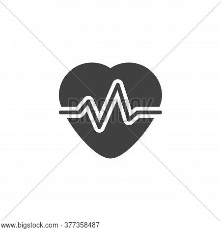 Heartbeat Pulse Vector Icon. Filled Flat Sign For Mobile Concept And Web Design. Heart Cardiogram Gl