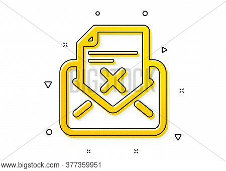 Delete Mail Sign. Reject Letter Icon. Decline Message. Yellow Circles Pattern. Classic Reject Letter