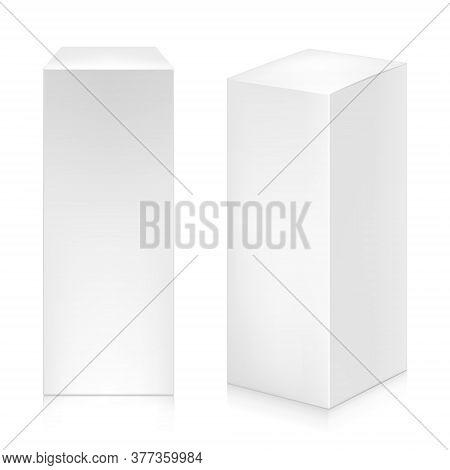 Paper White Tall Plain Boxes Set Mock-up Template.