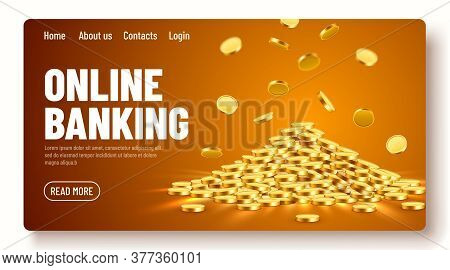 Gold Shiny Coins. Big Bunch Of Old Metal Money. Precious Expensive Treasure. Online Banking Landing
