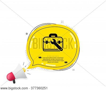 Spanner Tool Icon. Quote Speech Bubble. Repair Tool Case Sign. Fix Instruments Symbol. Quotation Mar