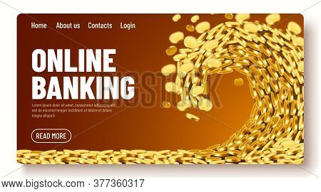 The Wave Of Money. Huge Tsunami Wave Of Gold Coins. Online Banking Landing Page Template Or Banner.