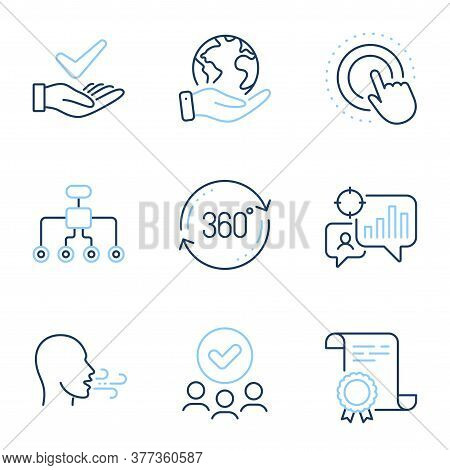 Full Rotation, Seo Statistics And Click Hand Line Icons Set. Diploma Certificate, Save Planet, Group