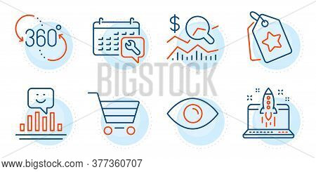 Market Sale, 360 Degree And Loyalty Tags Signs. Smile, Check Investment And Eye Line Icons Set. Star