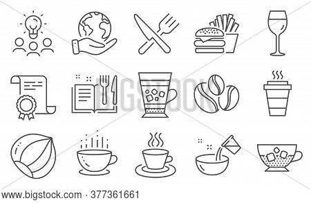 Set Of Food And Drink Icons, Such As Cold Coffee, Recipe Book. Diploma, Ideas, Save Planet. Hazelnut