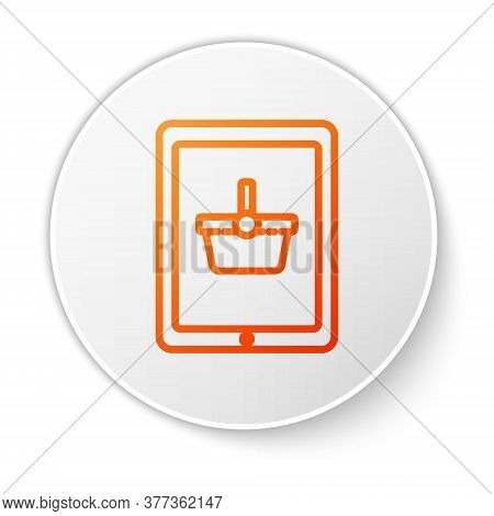 Orange Line Shopping Basket On Screen Tablet Icon Isolated On White Background. Concept E-commerce,