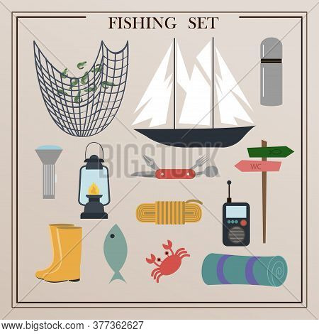 A Set Of Items For Fishing With Nets And A Fishing Rod. Vector Illustrations Of Isolated Items For C