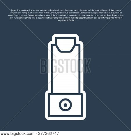 Blue Line Inhaler Icon Isolated On Blue Background. Breather For Cough Relief, Inhalation, Allergic