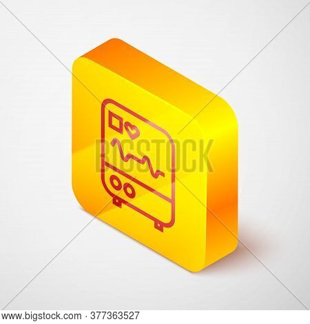 Isometric Line Computer Monitor With Cardiogram Icon Isolated On Grey Background. Monitoring Icon. E