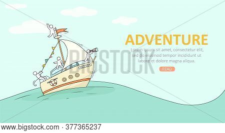 Sketch Of Little People On Yacht. Doodle Cute Miniature Scene About Transportation. Hand Drawn Carto