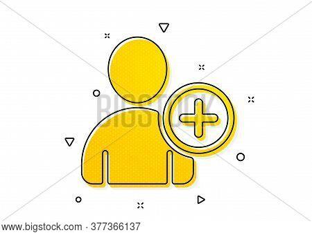 Profile Avatar Sign. Add User Icon. Person Silhouette Symbol. Yellow Circles Pattern. Classic Add Us