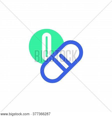 Medicines Icon Vector, Filled Flat Sign, Bicolor Pictogram, Medical Pills Green And Blue Colors. Sym