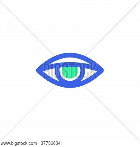 Human Eye Icon Vector, Vision Filled Flat Sign, Bicolor Pictogram, Green And Blue Colors. Symbol, Lo