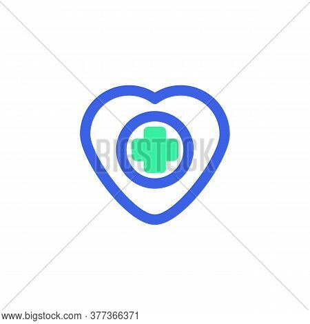Medical Heart Icon Vector, Cardiology Heart Filled Flat Sign, Bicolor Pictogram, Green And Blue Colo