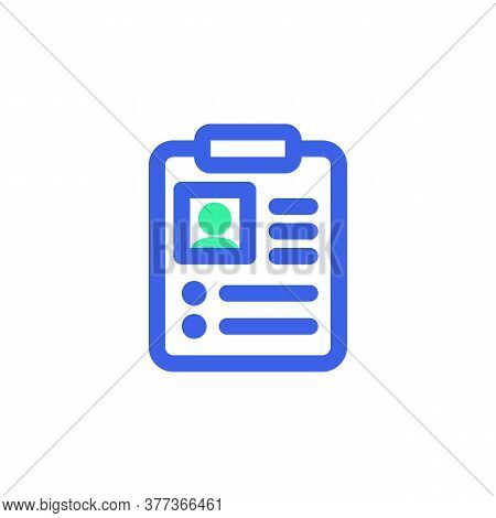Patient Card Icon Vector, Medical Record Filled Flat Sign, Bicolor Pictogram, Green And Blue Colors.