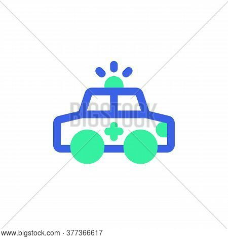 Ambulance Car Icon Vector, Filled Flat Sign, Bicolor Pictogram, Medical Car Green And Blue Colors. S