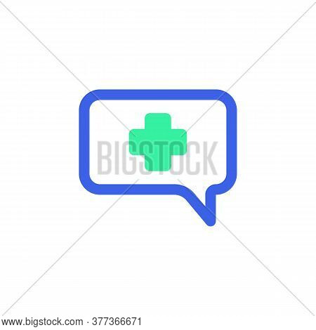 Medical Chat Message Icon Vector, Filled Flat Sign, Bicolor Pictogram, Green And Blue Colors. Symbol