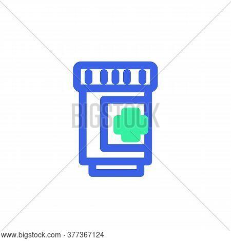 Medicine Bottle Icon Vector, Filled Flat Sign, Bicolor Pictogram, Medical Tablet Bottle Green And Bl