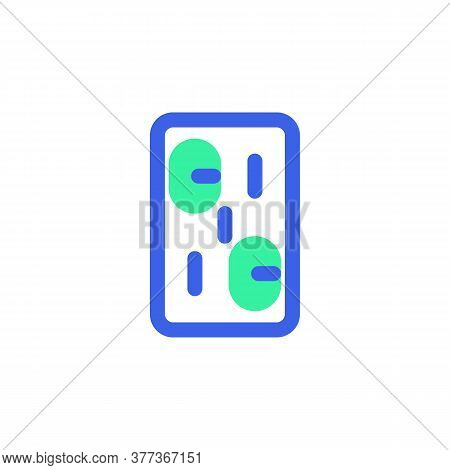 Pills Blister Pack Icon Vector, Filled Flat Sign, Bicolor Pictogram, Medical Capsule Green And Blue