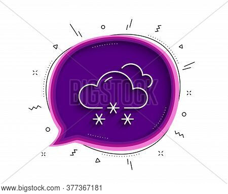 Snow Weather Forecast Line Icon. Chat Bubble With Shadow. Clouds With Snowflake Sign. Cloudy Sky Sym