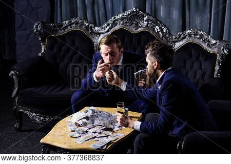 Successful Business, Mafia, Gangsters Crime Concept. Criminals Count Cash. Retro Style.
