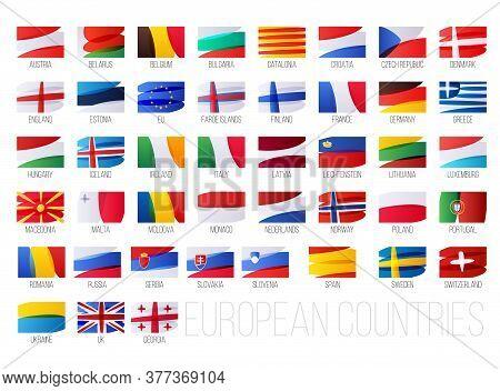 European Countries Flags Set. Eu And Non-eu Countries National Symbols.