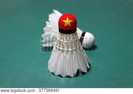 Used Shuttlecock And On Head Painted With Vietnam Flag Put Vertical And Out Focus Shuttlecock Put Ho