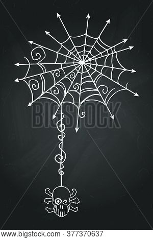 Ornate Spiderweb With Hanging Skull. Hand Drawn Halloween Celebration Design Element Symbol. Vector